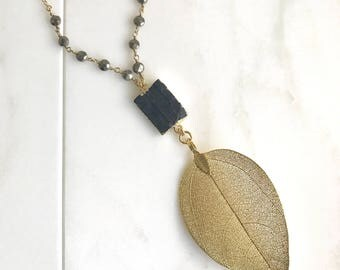 Long Gold Leaf and Black Stone Necklace. Pendant Necklace. Black Necklace. Boho Necklace. Jewelry.