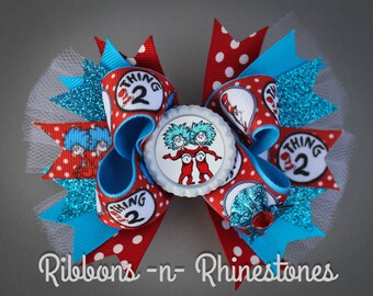 Thing 1 Bow, Thing 2 Bow, Thing 1 and Thing 2 Bow, Cat in the Hat Bows, Thing 1 Hair Bows, Thing 2 Hair Bows, Cat in the Hat costume bows