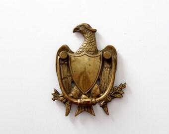 antique brass door knocker, signed brass eagle door knocker
