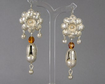 Sterling Flower Earrings, Statement Earrings, Dangle, Ethnic, Tribal, Boho, Amber Glass, Pierced Earrings, Vintage Jewelry