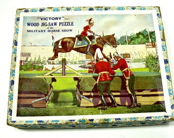 """Vintage G. J. Hayter Wood Victory Jigsaw Puzzle - """"A Military Horse Show"""" - Made in England - Rare - 175 Pieces"""