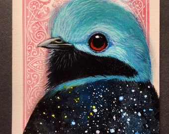 Lovely Cotinga Universe on a playing cards. Original acrylic painting. 2017