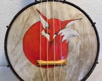 Vintage Sleeping Fox Painted On A Slingerland Maybelle BANJO UKULELE banjolele Uke Regal pre war