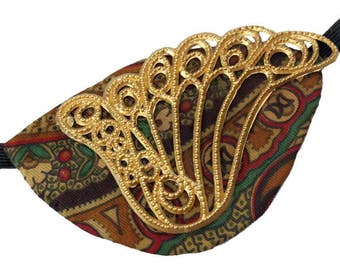 Gold Brown Eye Patch Golden Filigree Steampunk Pirate Fantasy Fashion Cosplay
