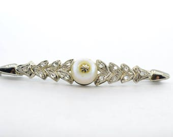 Edwardian 18k White Gold Pearl and Diamond Chip Brooch/Pin