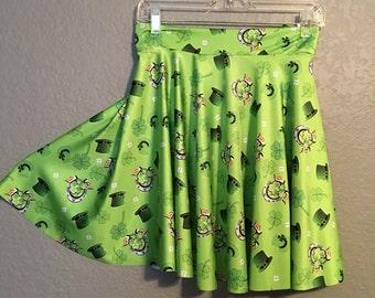 Lucky Horseshoe Green Skirt - St Patricks Day Skirt - Novelty Print Skirt - Retro Full Skirt ... Skater Skirt,  Mommy and Me, Rockabilly,