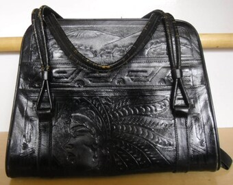 Vintage Handbag - Hand Tooled Black Leather Purse, Native Indian Design, Indian Chief Headdress, Zipper Closure, Outer & Inner Pockets