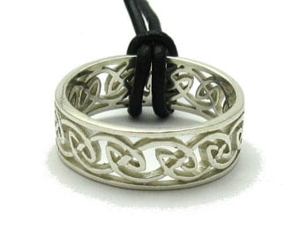 Sterling silver pendant solid 925 ring celtic band