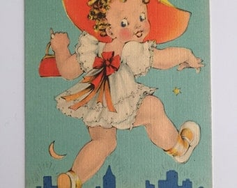 Oh Boy! Am I Goin' to Town! Vintage Post Card