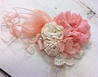 Peach & Ivory Cream floral headband/ hairclip
