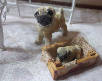 Dollhouse Miniature Pug Dog with Puppy, 1/12 scale