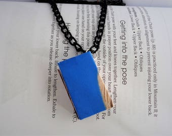 Hairdresser Book Pendant Necklace, Blue Book Pendant, Recycled Hairdresser Magazine Pendant, Ecofriendly book Pendant, Upcycled Book Pendant
