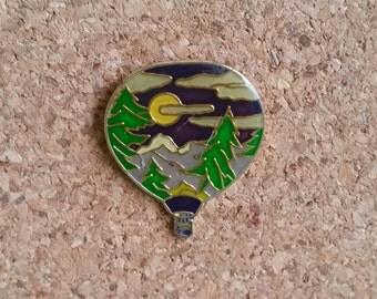 Hot Air Balloon Vintage Enamel Pin | Mountains | Pine Trees | Sun | Scenic | Cloisonne | Lapel