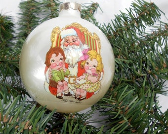 Vintage Campbell Soup Kids Christmas ornament Campbell glass ball ornament 1980 new old stock Campbell Soup Christmas ornament