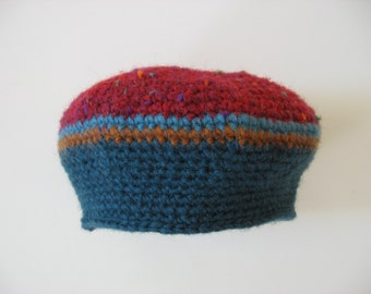 red and teal wool hat beret with stripes