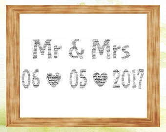 Mr & Mrs Word Art print with special date Wedding Engagement Gift