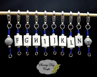 Blue & Silver Stitch Markers, 10 Crochet Stitch Markers, Hook Size Reminders , Stitch Marker Set, Letter Stitch Markers, MM Stitch Markers