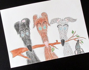 "Lurcher original watercolour ""The Hairy Hooligans"" silly old (grey)hound 7"" x 9.75"""