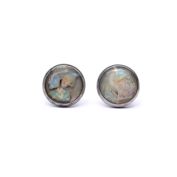 Raw Australian Opal Cabochon Studs, Stainless Steel, Natural, Mineral, Glow in the Dark, Resin, Unique, Handmade, Blue Green Flash