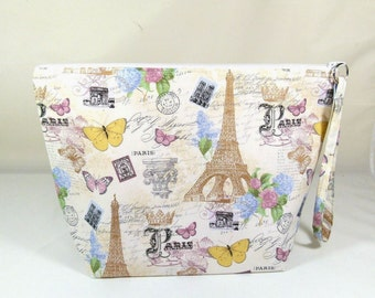 Knitting Project Bag - Large Zipper Wedge Bag in Vintage Floral Fabric with Pink, Gold, and White Polka Dot Cotton Lining