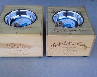 Wine Crate Dog-Cat Feeder/Bella Union Wine Crate/ Raised Dog-Cat Feeder/ Napa Valley Dog-Cat Feeder