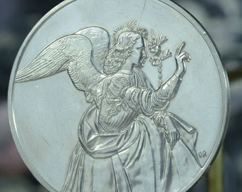 Vintage GABRIEL ARCHANGEL Silver Art Medal Keepsake