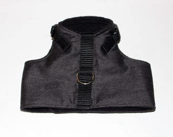 Made to order  - Italian Greyhound Harness  (measurements essential) Antique Black Denim cotton or fleece lined  - see details