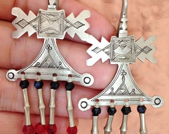 Old Silver Tuareg Earrings with Red/Black/Silver Beads, Niger