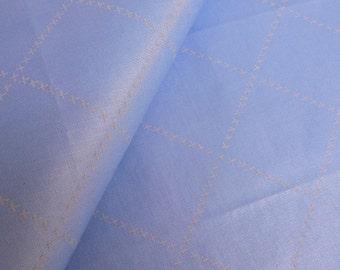 Vintage Blue Chintz Fabric Remnant, Vintage Blue Polished Cotton Fabric Remnant, Vintage Fabric, Blue Windowpane Print Fabric