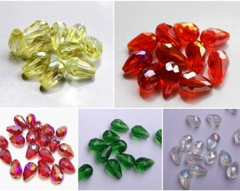12mm x 8mm Faceted Teardrop crystal beads,  4 pieces,  Beautiful, Sparkly,  Nice Size ... Your Choice, AB Red, Clear, Green, Yellow