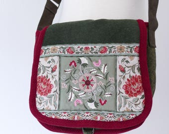 Green Embroidered Flower Bag.