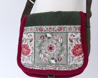 Green Embroidered Flower Bag.