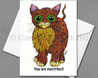 You Are Purrrfect - 5x7 Greeting Card by Carolyn Stich Studio