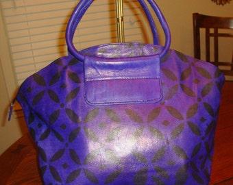 Tie Dye Women Leather Purse Handbag