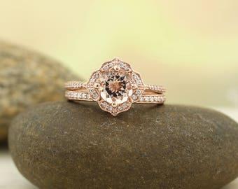 Reserved for falconanthony, payments Morganite Engagement Ring Set  Diamond Wedding Ring Set Vintage Floral style In 14k Rose Gold Gem1224