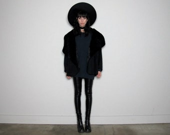 RARE Black FAUX FUR & Wool Cape Shawl Coat Unique Cropped Vintage Size M/L