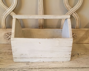 Rustic White Catchall Tote - Perfect for Potted Herbs or Craft Supplies - Distressed White Wood Tray