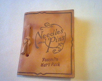 Vintage Needles and Pins Yosemite National Park leather & felt souvenir to hold needles and pins