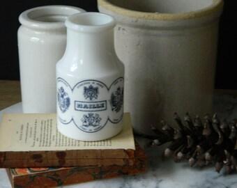 Vintage French Milk Glass Mustard Jar. Home Decor. Cottage. Farmhouse.
