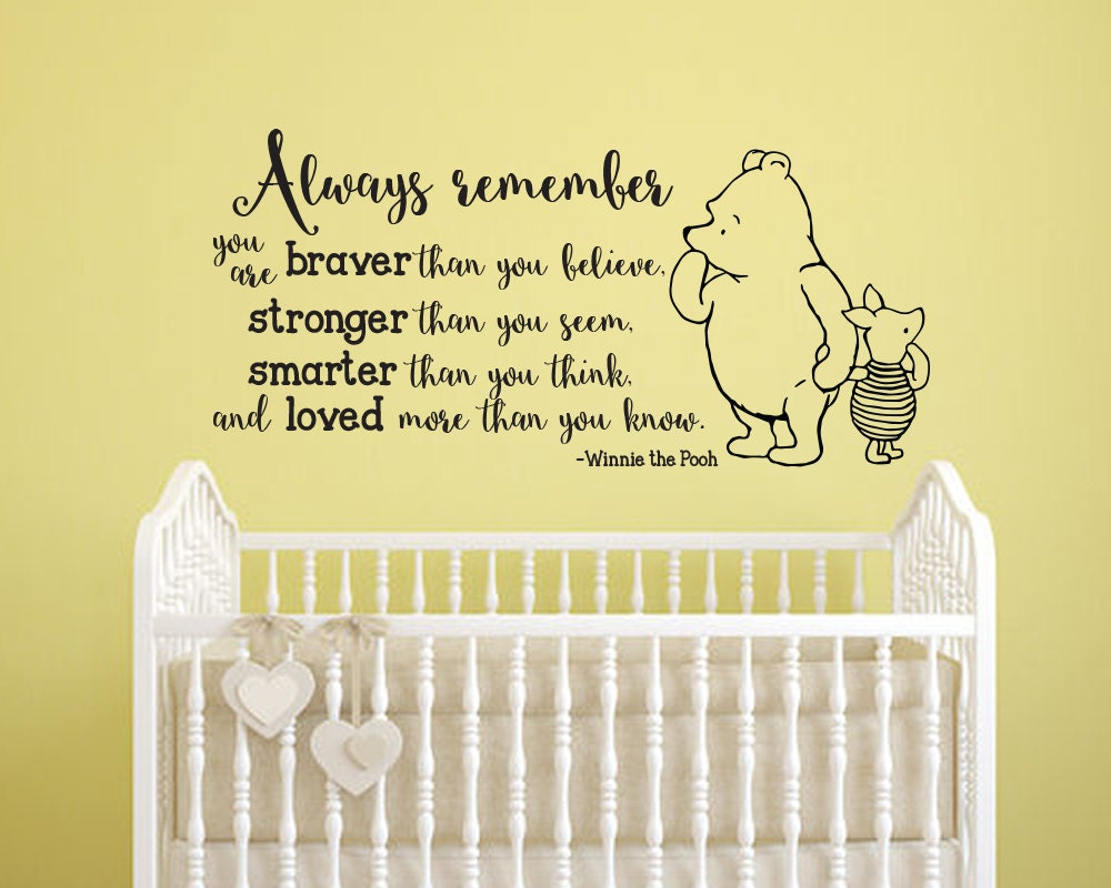 Winnie the Pooh Always Remember Classic Pooh and Piglet vinyl wall ...