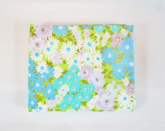 Vintage Flat Sheet MOD FLOWERS Blues Greens Purples QUEEN 1970s