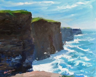 Original Oil Painting.  Cliffs of Moher Wild Atlantic Way. Oil on canvas panel 12 ins x 10 inches) :by Bill O'Brien. Irish art