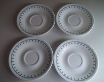 4 Corelle Garland AKA Snowflake Saucers, Made in the USA
