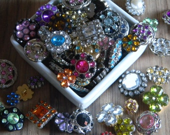 Rhinestone Button Centers Grab Bag Lot Assorted Colors Shape and Sizes (You Choose Quantity) Scrap Booking Hair Bows Flower Headband Centers
