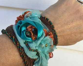Teal blue and brown cuff bracelet
