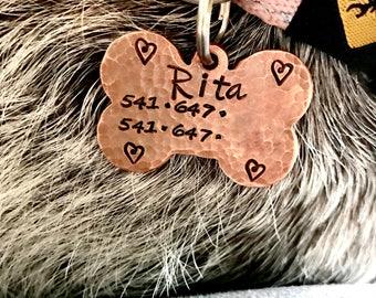 Dog ID tag, pet id tag, dog bone tag, custom pet tag, dog tag, copper dog identification tag, custom dog tag, new puppy gift, made to order