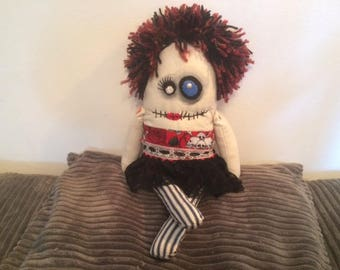 Zombie rag doll, monster, goth, gothic, scary, voodoo, creepy.