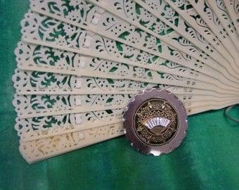 """Antique FAN Button Fabulous Shiny Steel, Pierced Brass 1 1/2"""""""