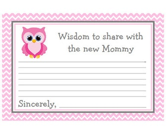 Baby Shower Mommy Advice Cards Pink & Grey (Gray) Chevron with Owl Words of Wisdom Instant Download