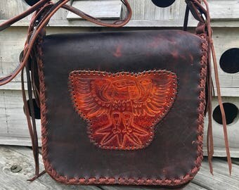Tooled Eagle messenger bag in bison /crossbody/totebag/leather tote